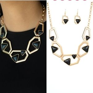 Chunky Gold and black geometric necklace